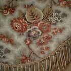 C1850 ANTIQUE FRENCH COTTON PICOTAGE FLORAL RED PURPLE FABRIC VALENCE TRIM 23x84