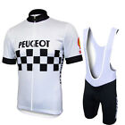 1986 Peugeot Cycling Jersey Shorts Bib Retro Road Pro Clothing MTB Short Sleeve
