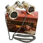 3 Opera Glasses X 25 Golden With Crystal Clear Optic CCO And Silver Trim Chain