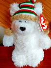 Ty Beanie Baby CHILLINGSLY polar bear with knitted hat  MWMT Christmas bear