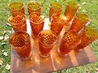 Indiana Glass: Ice Tea Glasses, Footed, Amber, Cubist, Whitehall by Colony, (12)