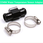 22MM Tee Connector for Motorcycle Water Temp Gauge Adapter Black CNC Aluminum