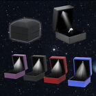 Fine Velvet Wedding Ring Earring Storage Display Box Case with LED Lamp #JIN