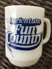 Vintage Darien Lake NY Fun Country Fire King Milk Glass Mug Anchor Hocking