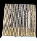 ARTIST SIGNED FUSED GLASS LARGE AMBER  WHITE STRIPED SATIN FINISH 14 3 4 TRAY