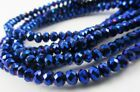 Glass Rondelle Faceted Metallic Blue loose beads spacer AAA 4mm 6mm 8mm 10mm