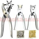 3pc LEATHER HOLE BELT PUNCH + EYELET PLIER + SNAP BUTTON GROMMET SETTER TOOL KIT