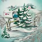 Vintage Mid Century Christmas Greeting Card Aqua Silver Foil Mailbox With Gifts