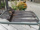 4 HEFTY ANTIQUE CAST IRON STRAP HINGES BARN DOOR  CURVED UNUSUAL SHAPE 21