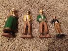 4 Pieces Hand Carved Wooden Folk Art Old Man and Old Woman