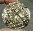 ANTIQUE BRASS BUTTON W/ PASTE STONES ~ JEWELED