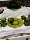 Green Kings Crown Snack Luncheon Plate Cup Sets Mid Century
