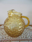 VINTAGE ANCHOR HOCKING HONEY GOLD AMBER LIDO OR MILANO 2 QUART BALL PITCHER