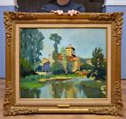 Fine Original French Post Impressionist Oil Painting Fauve River Landscape