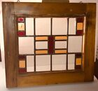 ANTIQUE VICTORIAN QUEEN ANN OR MISSION STYLE STAINED GLASS SASH WINDOW 18