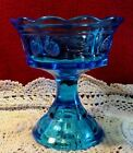 BLUE DEPRESSION FOOTED GLASS ART CANDY BOWL STRAWBERRY PATTERN