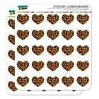Leopard Print Orange And Black Heart Planner Scrapbook Craft Stickers