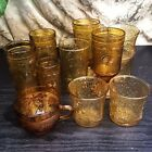 10 Vintage Tumblers~Anchor Hocking Gold Pagoda~Brockway Glass American Concord