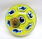 Vintage Italy House of Goebel BLUE FISH Art Glass Paperweight Original Label