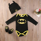 Newborn Toddler Baby Boy Batman Romper Shoes Hat 3Pcs Clothes Outfit Costume USA