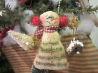 Primitive Christmas Snowman - Red Earmuffs - Ornie or Bowl Filler   #1734