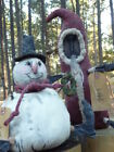 Primitive Folk Art Dolls  Black Santa and Snowman With  Additional  Happiness