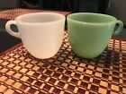 2 Vintage Fire King Mugs Jadeite Green White Glass C Handle Coffee Cup Jadite