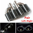 Pair H Style Glossy Carbon Fiber Car SUV Dual Pipe Exhaust Pipe Tail Muffler Tip