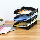 Office 3 Tier File Letter Document Organizer Rack Desk Paper Tray Folder Black