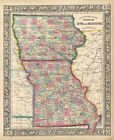 1864 Mitchell's County Map of the States of Iowa and Missouri (Original Antique)
