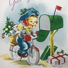 Vintage Mid Century Christmas Greeting Card Cute Boy Delivering Cards Mailbox