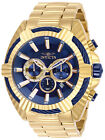New Mens Invicta 28043 Bolt Quartz Chronograph Blue Gold Dial 50mm Watch
