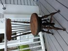 Antique Victorian High Back Piano Stool with Glass Ball and Brass Claw feet