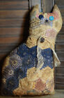 Primitive Quilted Cat Muslin Collar Bell Cupboard Tuck Coffee Stained