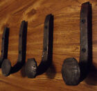 3 Antique Coat Hooks Old Railroad Spikes Wrought Iron Style Heavy Duty Shop Set