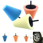 3pcs Burnishing Buffing Polishing Cone Sponge Foam Pad Car Wheel Hub Tool Shank