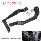 1 Pair Carbon Fiber Motorcycle 22mm Handlebar Brake Clutch Levers Protect Guard
