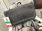 Real Leather Stella McCartney Inspired Grey Snakeskin Chain Clutch Bag BNWT