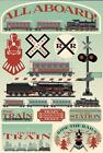 Scrapbooking Crafts Stickers CS 3D All Aboard Trains RXR Railroad Station Lights