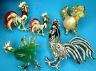 RARE Vintage Chicken Rooster Hen Animal Brooch Lot Gerrys Figural Pin Set