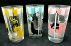 Vintage Libbey Glass Circus Acts Animal Trainer LIONS Rare Tent Motif Yellow Blk