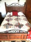 Authentic Antique LOG CABIN PATTERN Handmade FULL Sz Cotton Quilt Blanket Spread