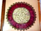 Framed Antique Floral Needlepoint Top, Maroon Velvet with two Intricate Fringes