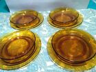 Vintage Vereco France Amber Soup or Salad Bowls And Plates 8 Place Settings