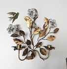 Antique Metal Floral Wall Candle Sconces Gold White Hollywood Regency