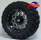 GOLF CART 12 BLACK PIONEER WHEELS and 22x11 12 AT MT TIRES 4 EXCLUSIVE