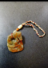 Rare Antique Archaic Chinese Mottled Jade Carved Dog Palm Piece.