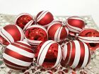 Christmas Holiday Red White Candy Cane Peppermint Ornaments Decor 25 Set of 10