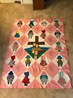 EMBROIDERED SUNBONNET-SUE QUILT TOP W/WINDMILL HOUSE
