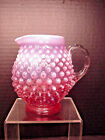 Fenton Cranberry Opalescent Hobnail Jug Pitcher Applied Glass Handle 475 high